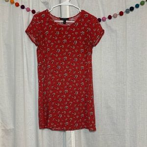 Red T-shirt Dress with White Floral Print